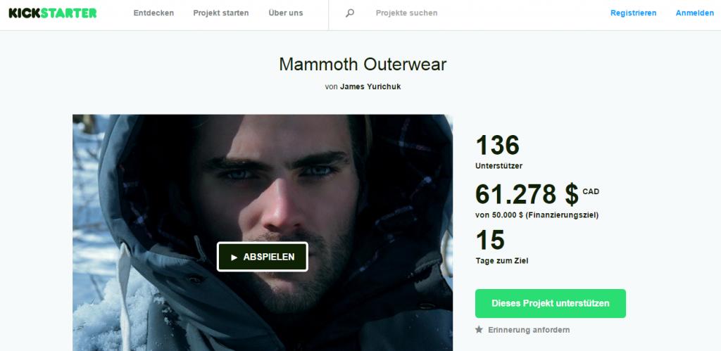 Screenshot Kickstarter Mammoth Outerwear