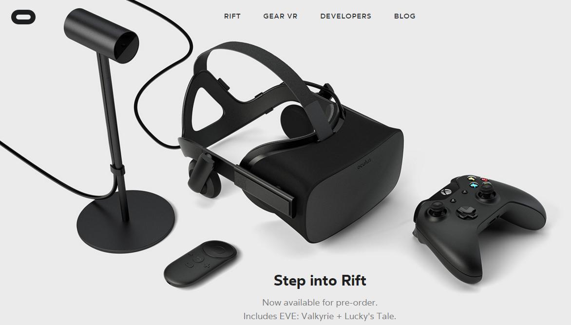 Screenshot der Seite oculus.com