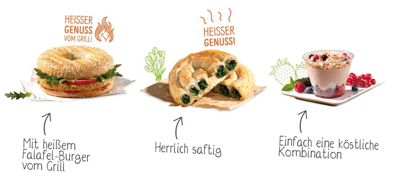 Drei der begehrten Produkte (Bilder von vegan.backwerk.de)