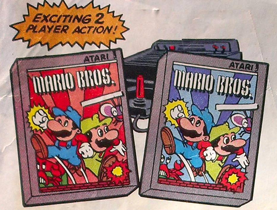 Ein Ausschnitt aus einer Zeitschriftenwerbung für Mario Bros. auf Atari-Konsolen, 1983