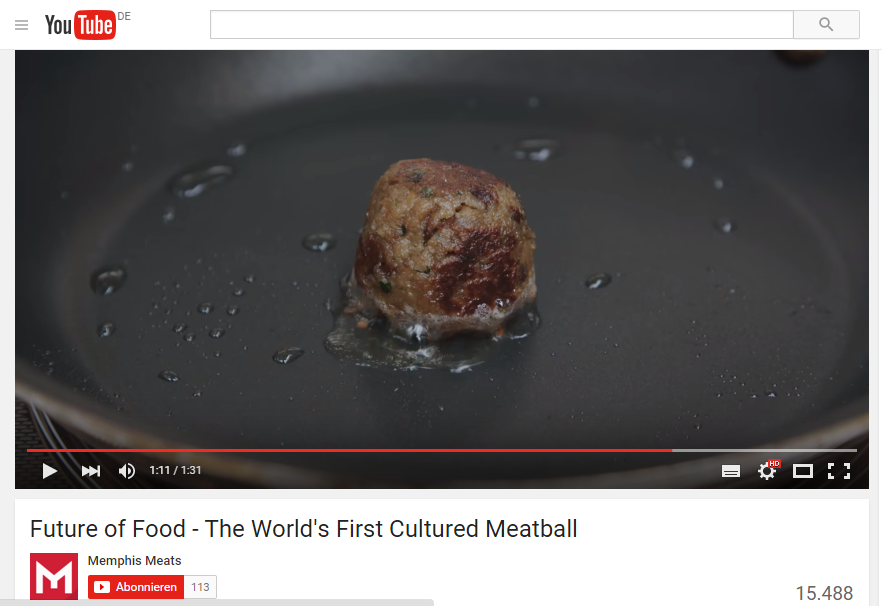 Ein lab grown meaball von Memphis Meats (Screenshot von Youtube)