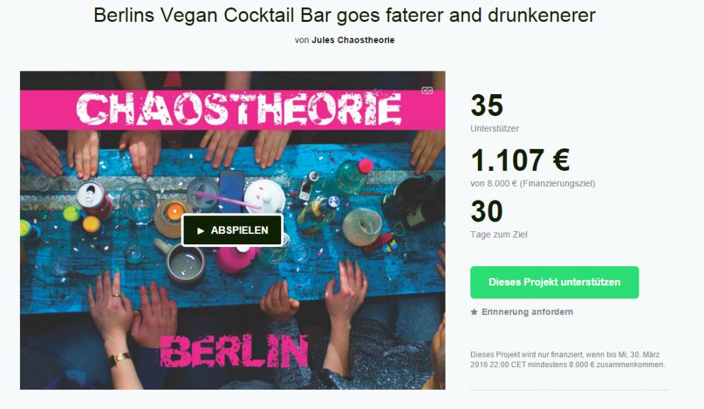 Screenshot der Kickstarter-Seite für Chaostheorie