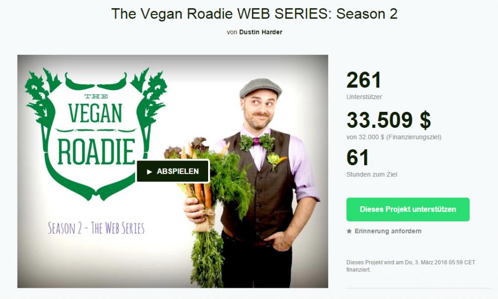 Screenshot der Kickstarter-Seite für den Vegan Roadie