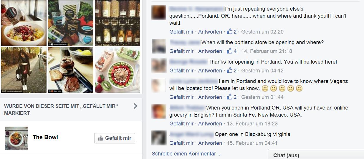 Die Veganz-Facebook-Seite am 18. Februar 2016 (Screenshot)