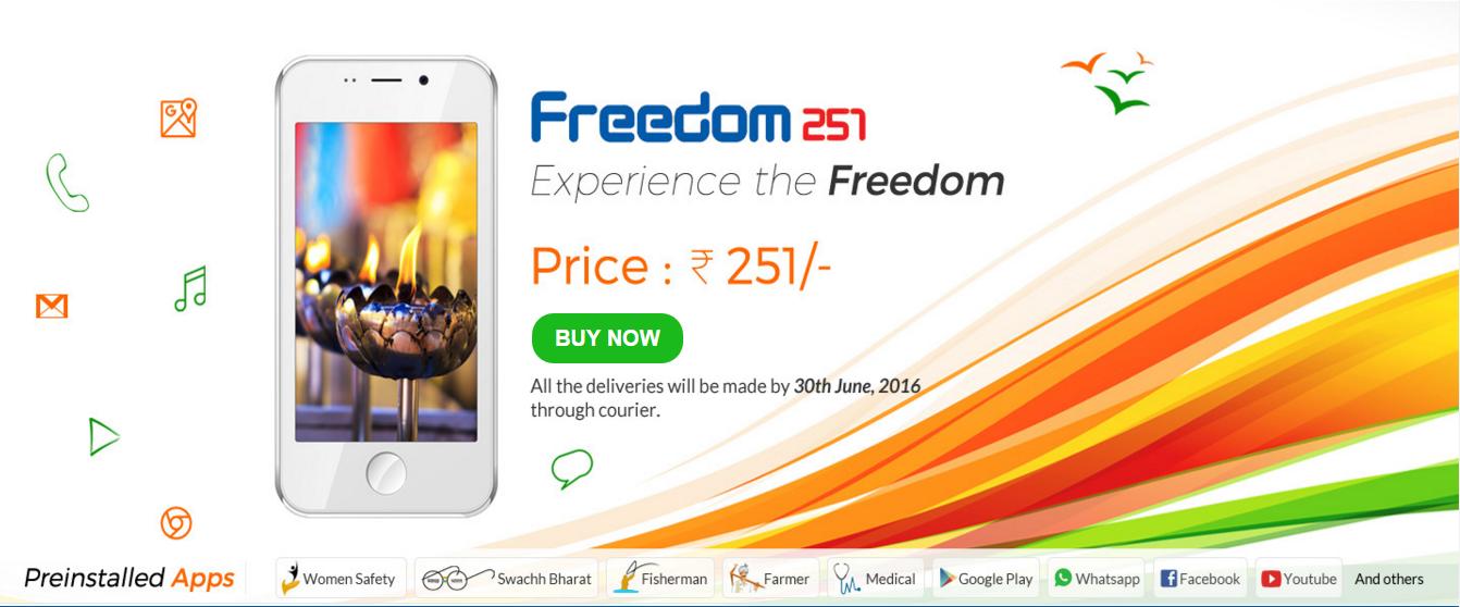 Screenshot der Seite freedom251.com