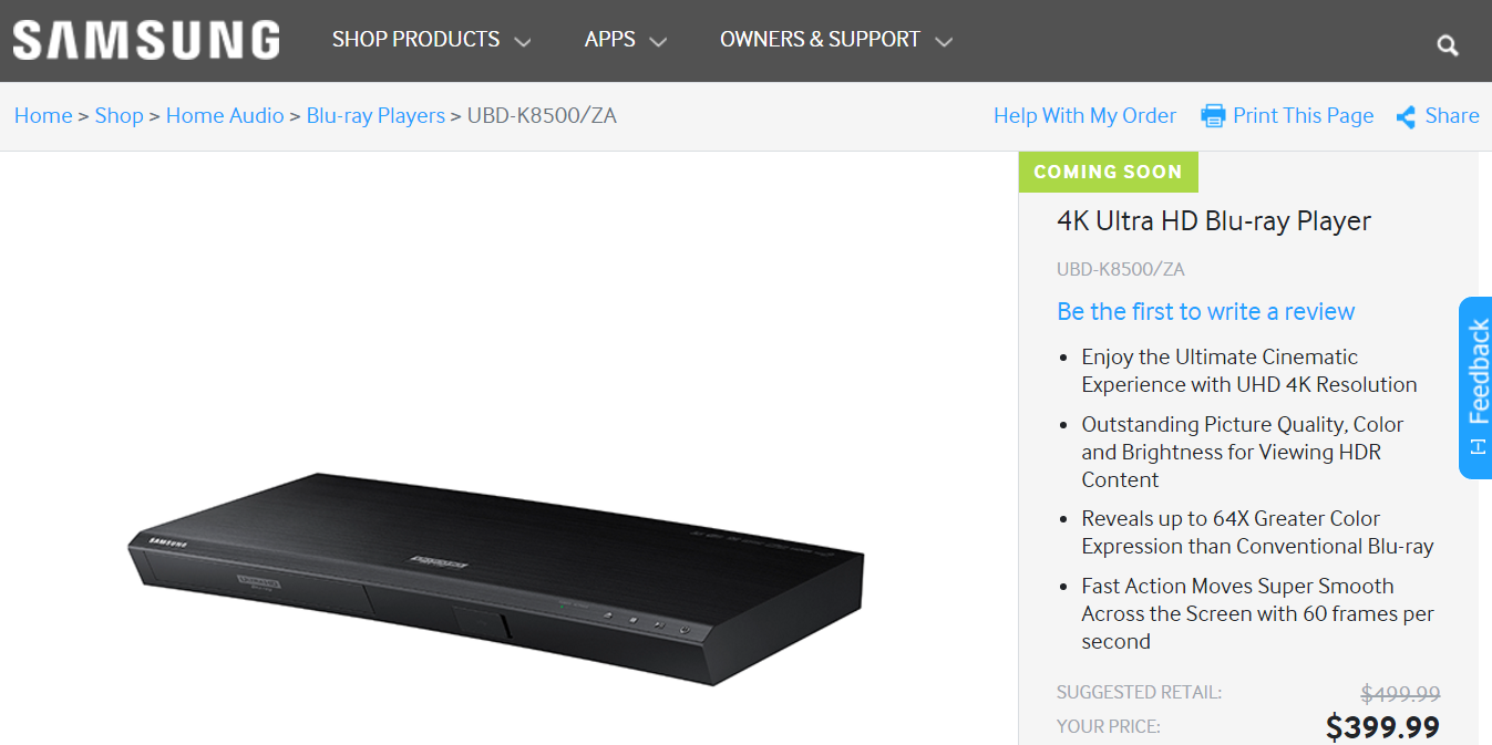 Samsungs UBD K8500 UHD Blu-ray-Player (Screenshot von samsung.com)