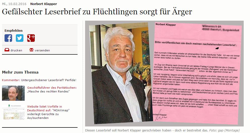 Der fragliche Leserbrief (Screenshot von wn.de)