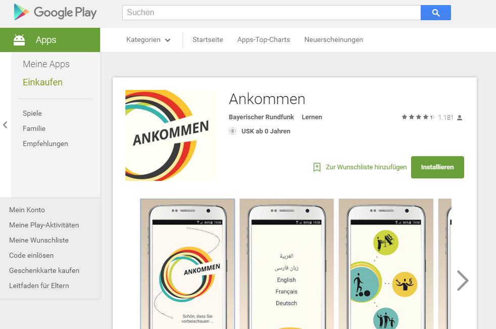 App Ankommen im Google Play Store (Screenshot)