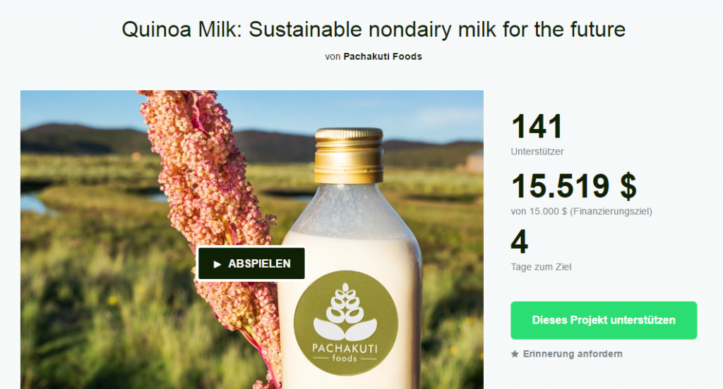 Screenshot des Pachakuti Foods-Quinoa Milch-Kickstarters