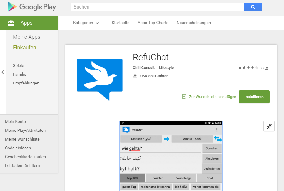 RefuChat im Google Play Store (Screenshot)