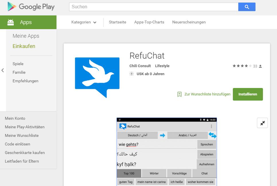 RefuChat im Google Play Store (Screenshot)