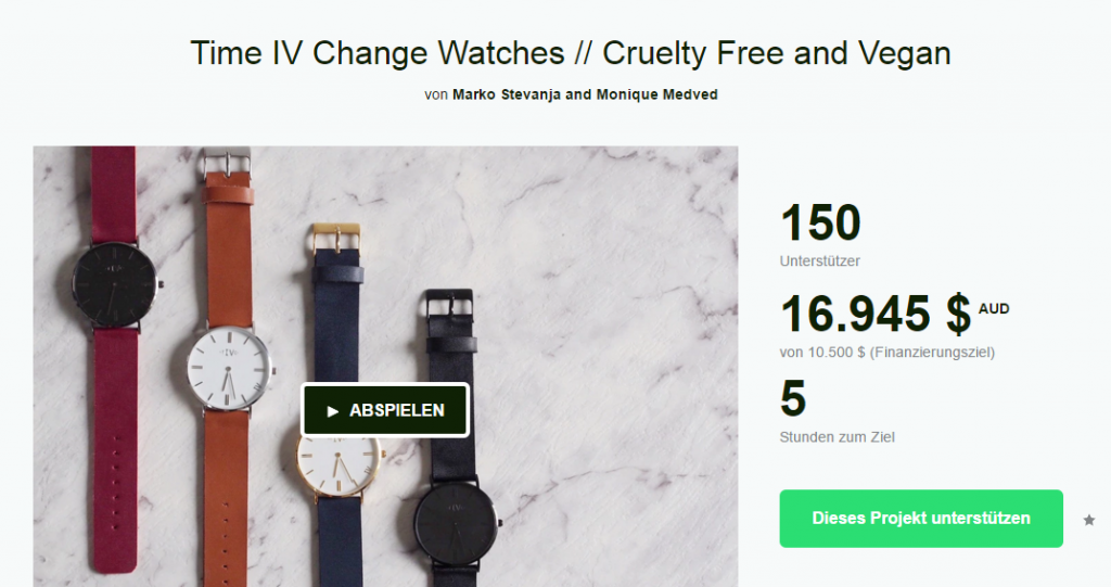 Screenshot des Time IV Change Watches-Kickstarters