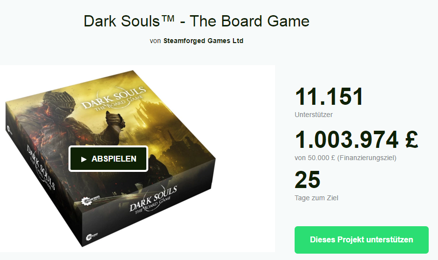 Screenshot der Kickstarter-Seite für Dark Souls - The Board Game