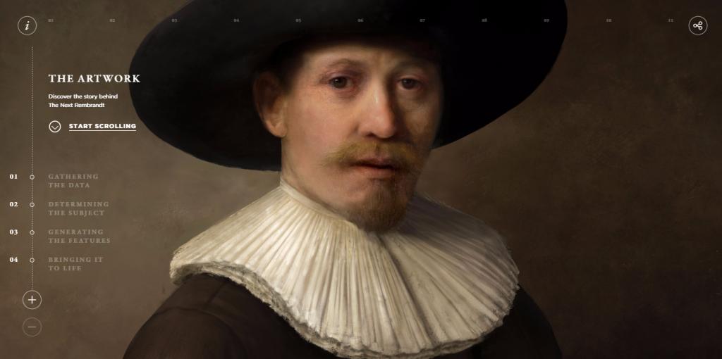 """Der """"neue"""" computergenerierte Rembrandt (Screenshot von thenextrembrandt.com)"""