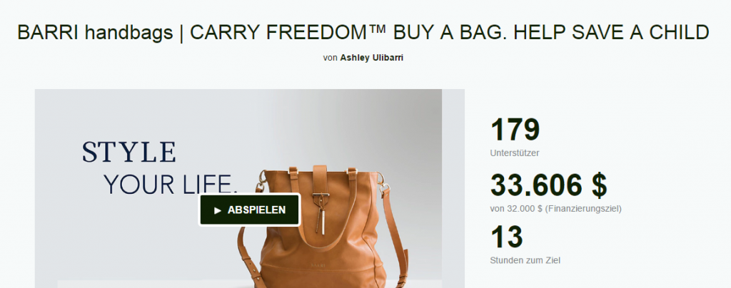 Barri Handbags auf Kickstarter