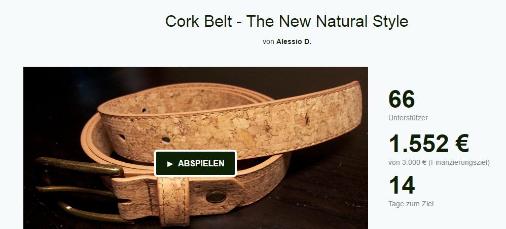 Der Cork Belt auf Kickstarter