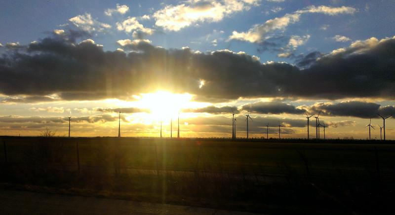 Windräder im Sonnenuntergang (Foto: Robert Ott)