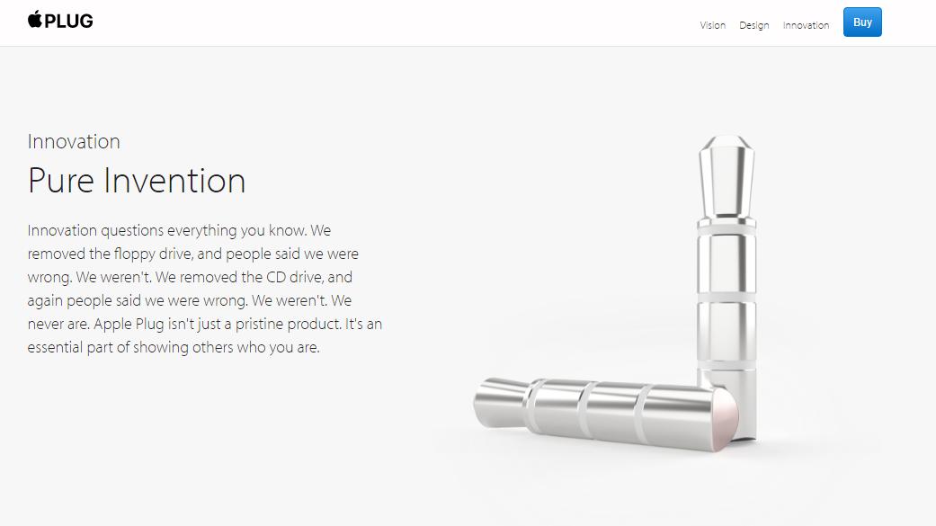 "Das Satire-Accessoire ""Apple Plug"" (Screenshot von appleplugs.com)"