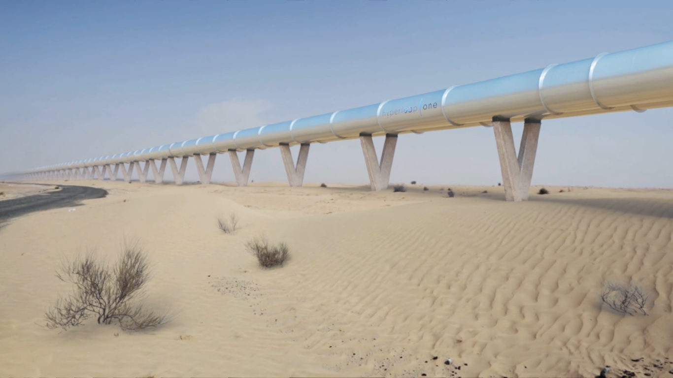 So könnte eine Hyperloop-Strecke in den Vereinigten Arabischen Emiraten aussehen (Screenshot von Youtube)