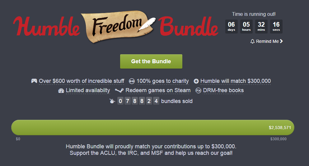 "Das ""Humble Freedom Bundle"" (Screenshot von humblebundle.com/freedom)"
