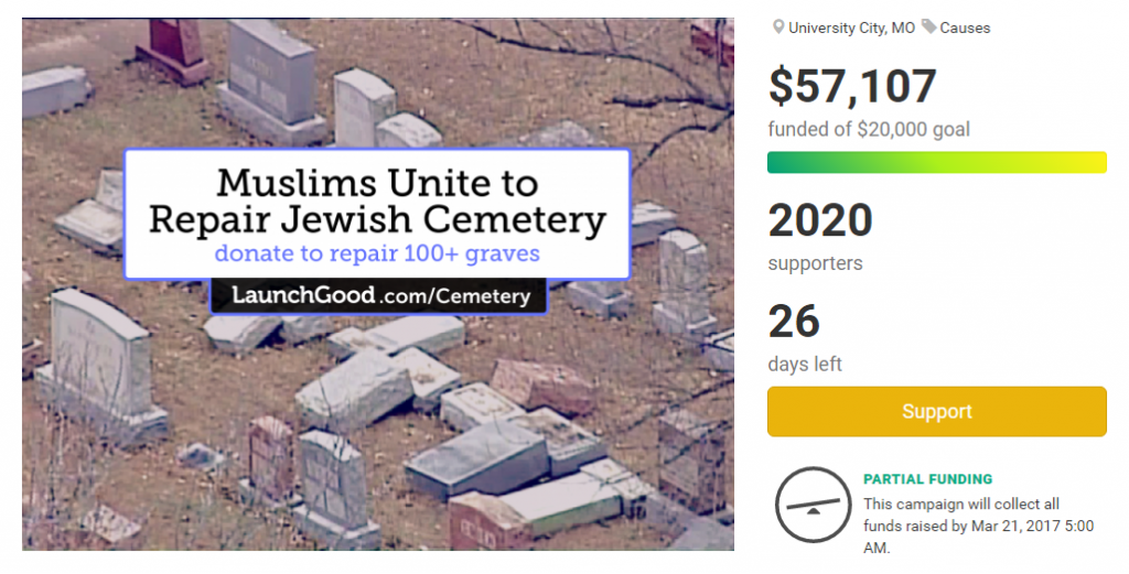 "Ein Screenshot der Crowdfunding-Kampagne ""Muslims Unite to Repair Jewish Cemetery"""
