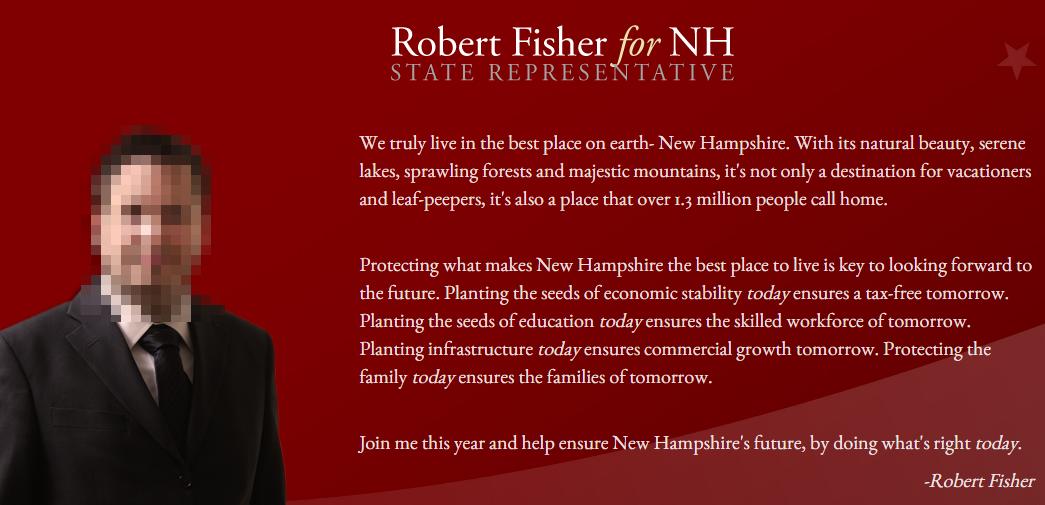 Ein Screenshot von Robert Fishers Webseite electfisher.org